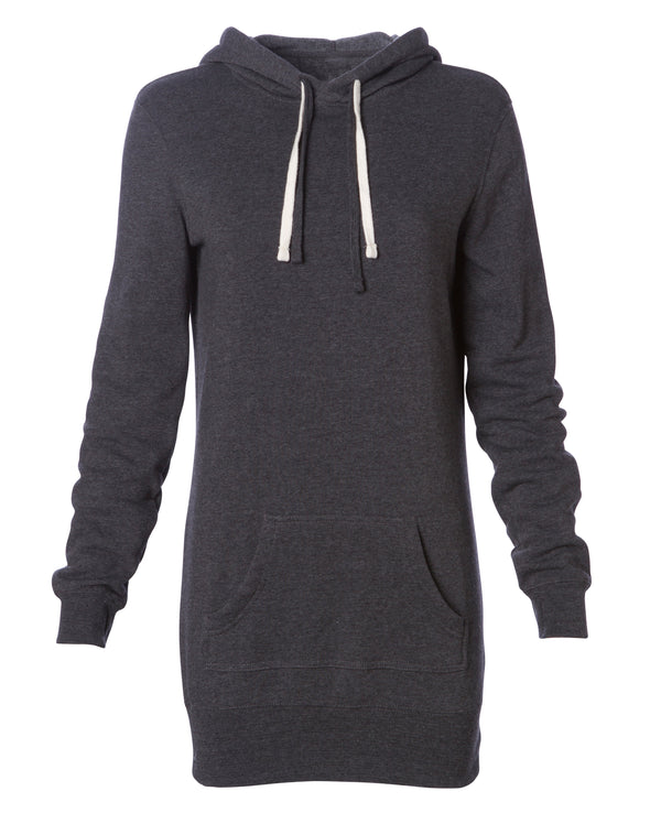 Front of a charcoal gray long-sleeve sweater dress with a kangaroo pocket and hood.