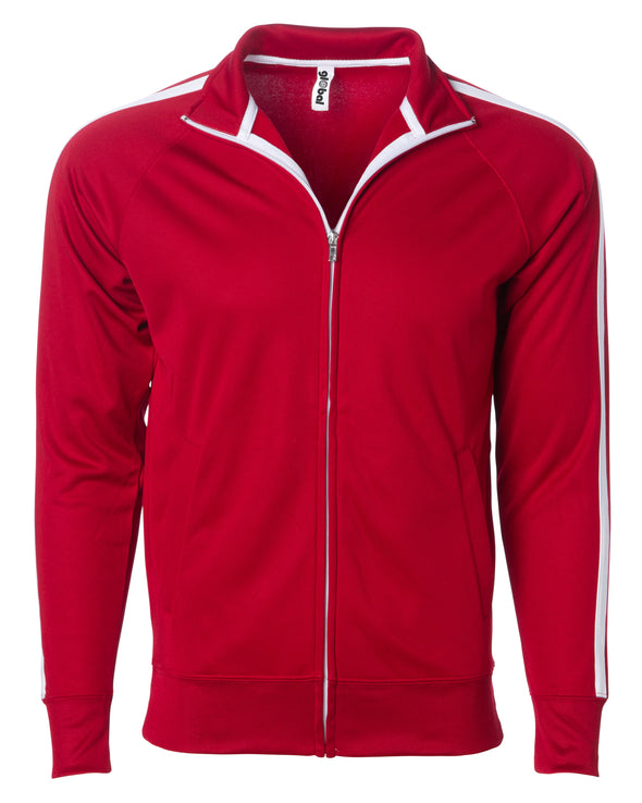 Front of a red zip-up track jacket with two vertical white stripes along the sleeves and an open collar.