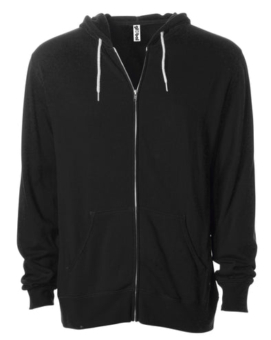 Front of a black zip-up fleece hoodie with front pockets and a white drawstring.