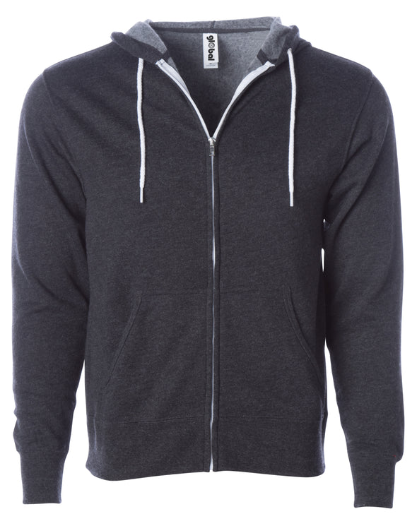 Front of a charcoal gray zip-up fleece hoodie with front pockets and a white drawstring.
