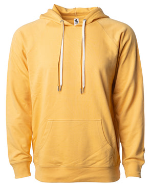 Front of a golden yellow french terry pullover hoodie with a kangaroo pocket and two drawstrings.