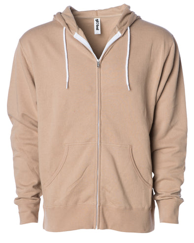 Front of a tan zip-up fleece hoodie with front pockets and a white drawstring.