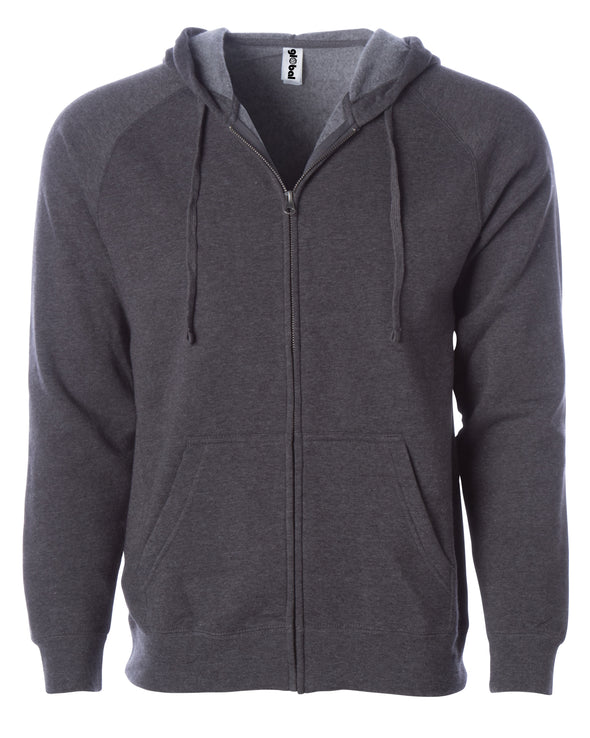 Front of a charcoal gray fleece zip-up hoodie with front pockets and a drawstring.