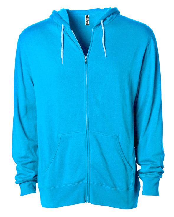 Front of a turquoise zip-up fleece hoodie with front pockets and a white drawstring.