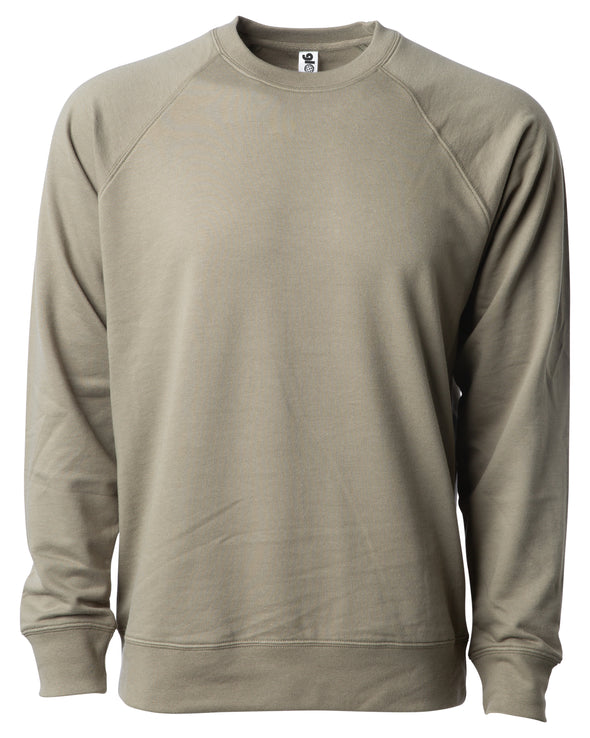 Front of an olive green french terry long sleeve crew neck sweater.