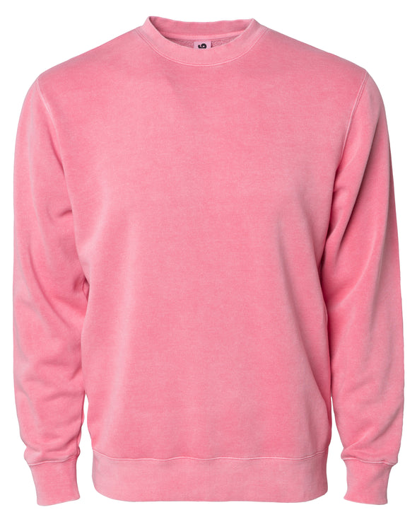 Front of a pastel pink crew neck sweatshirt.