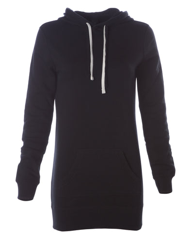 Front of a black long-sleeve sweater dress with a kangaroo pocket and hood.