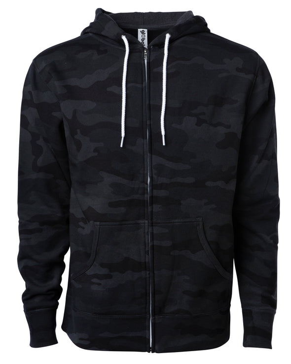 Front of a black camouflage zip-up fleece hoodie with front pockets and a white drawstring.