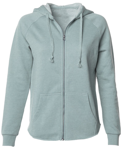 Front of a long sleeve pastel green zip-up hoodie.