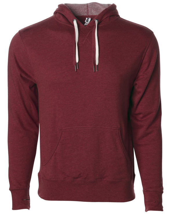 Front of burgundy french terry pullover hoodie with a kangaroo pocket, two drawstrings, and thumbholes.