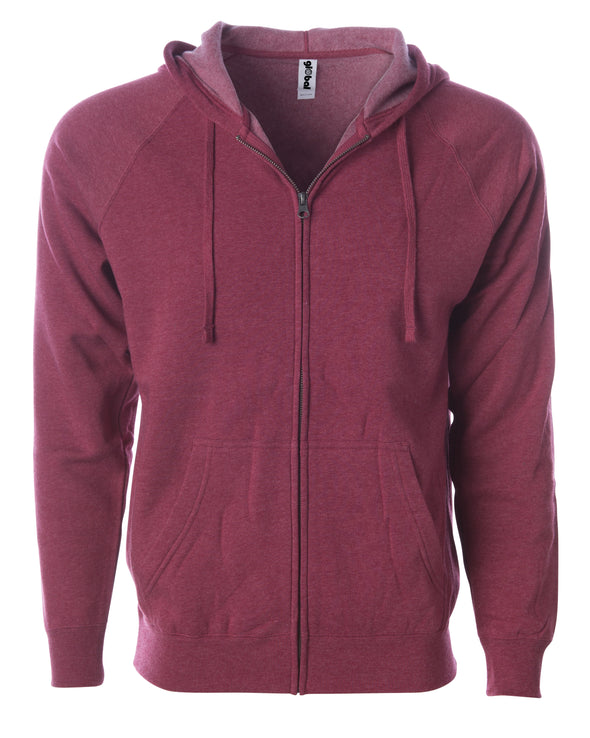 Front of a crimson fleece zip-up hoodie with front pockets and a drawstring.