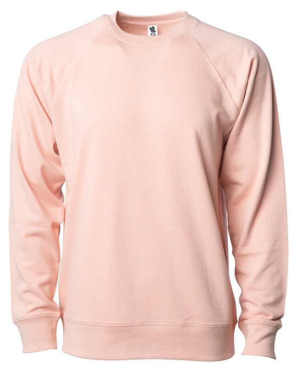 Front of a pink french terry long sleeve crew neck sweater.