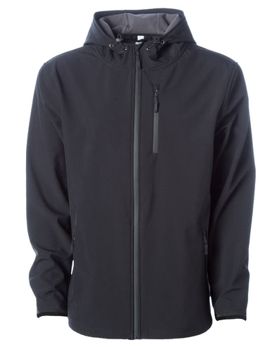 Front of black tech jacket with hood and zipper chest pocket.