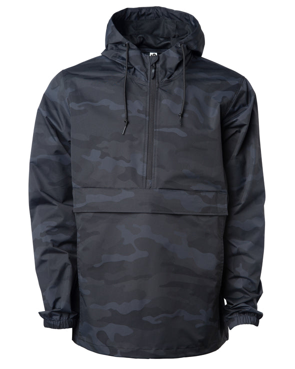 Front of a black camouflage rain jacket with a hood and kangaroo pouch.