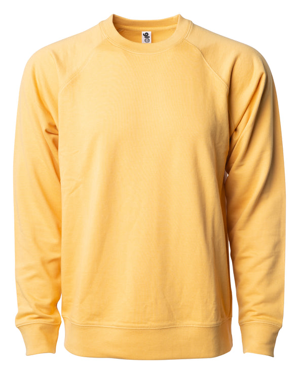 Front of a golden yellow french terry long sleeve crew neck sweater.
