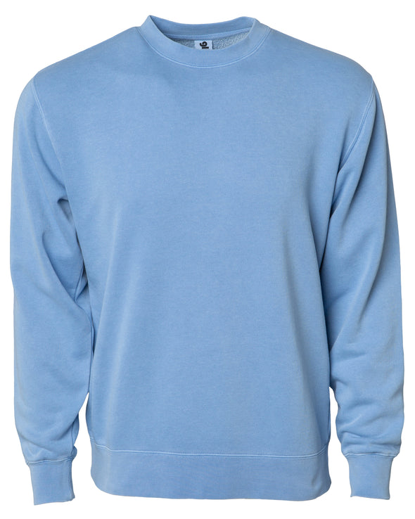Front of a pastel light blue crew neck sweatshirt.