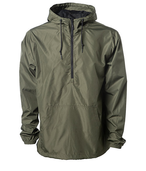 Front of an army green pullover windbreaker with a half zipper, hood, and elastic cuffs.