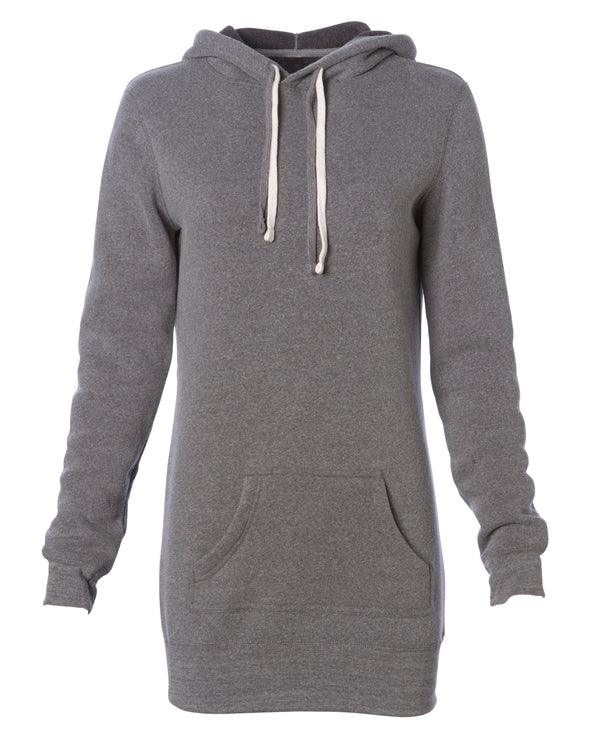 Front of a light gray long-sleeve sweater dress with a kangaroo pocket and hood.