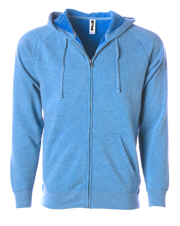 Front of a sky blue fleece zip-up hoodie with front pockets and a drawstring.