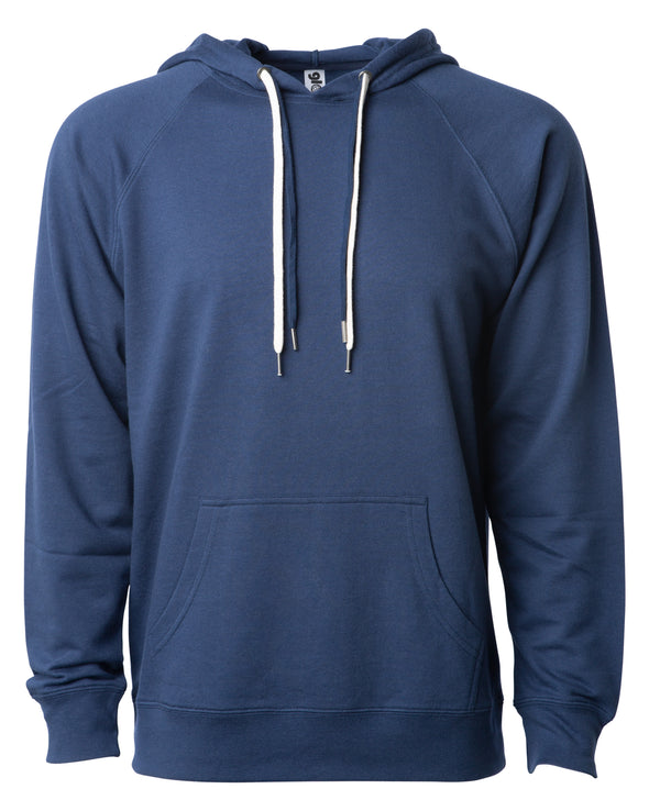Front of a navy french terry pullover hoodie with a kangaroo pocket and two drawstrings.
