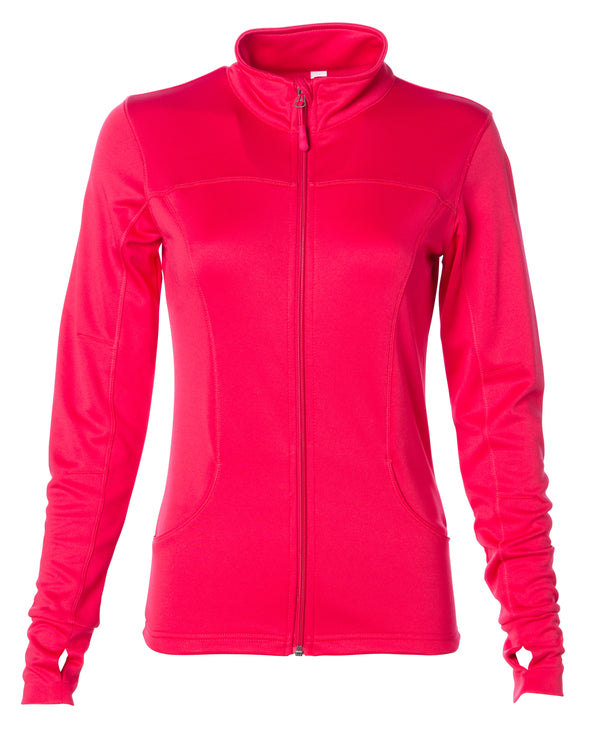Front of coral pink zip-up yoga jacket with front pockets and thumb holes.