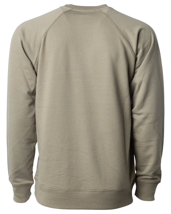 Back of an olive green french terry long sleeve crew neck sweater.
