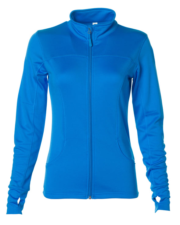 Front of blue zip-up yoga jacket with front pockets and thumb holes.