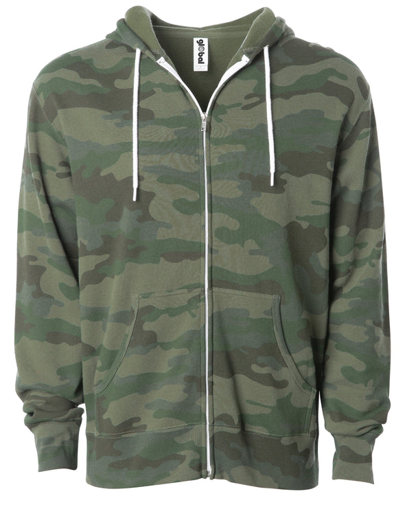Front of a green camouflage zip-up fleece hoodie with front pockets and a white drawstring.