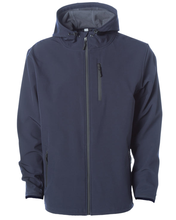 Front of navy tech jacket with hood and zipper chest pocket.