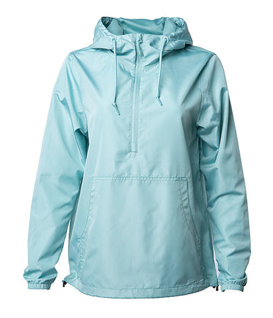 Front of an aqua blue pullover windbreaker with a half zipper, hood, and elastic cuffs.