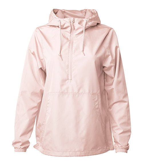 Front of a blush pink pullover windbreaker with a half zipper, hood, and elastic cuffs.
