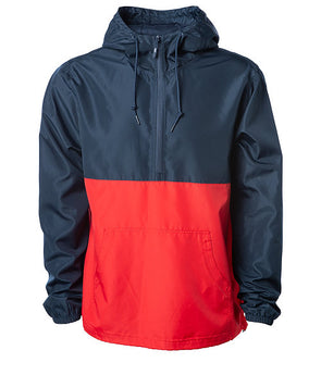 Front of a red and navy blue pullover windbreaker with a half zipper, hood, and elastic cuffs.