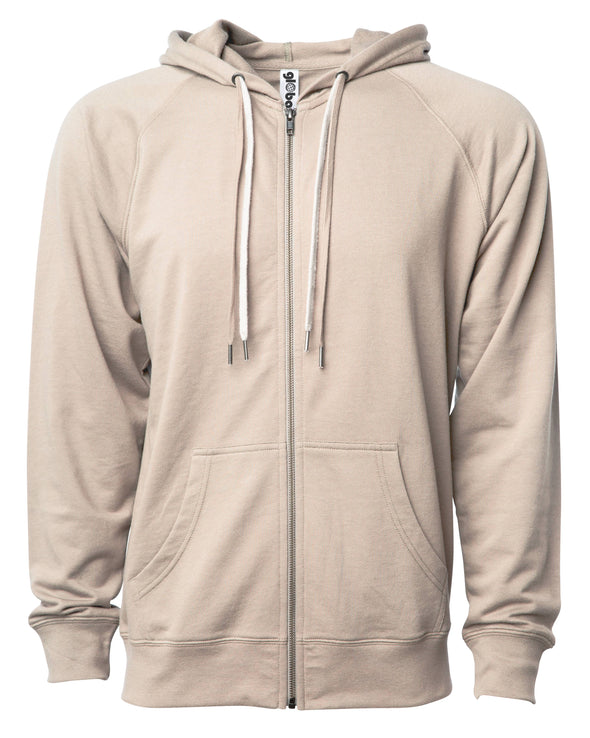 Front of a beige french terry zip-up hoodie with a kangaroo pocket and two drawstrings.