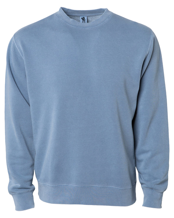 Front of a pastel blue crew neck sweatshirt.