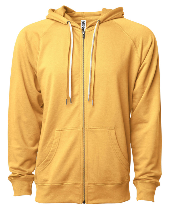 Front of a golden yellow french terry zip-up hoodie with a kangaroo pocket and two drawstrings.