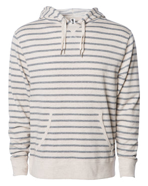 Front of beige and gray striped french terry pullover hoodie with a kangaroo pocket, two drawstrings, and thumbholes.