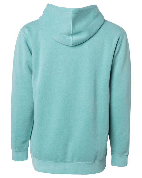 Back of a pastel mint pullover hoodie.