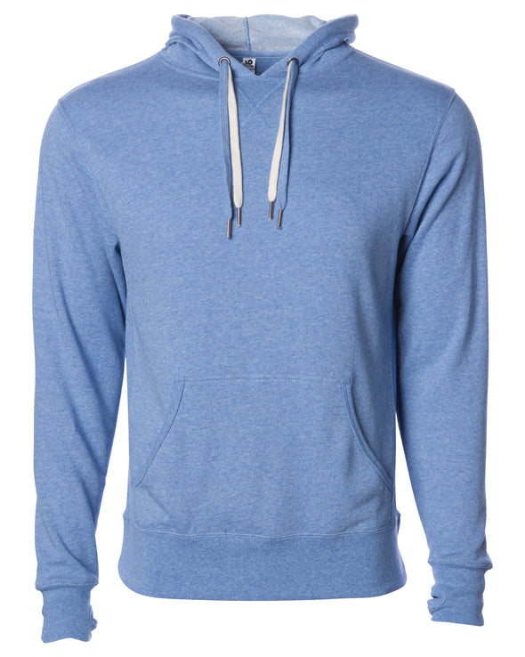Front of sky blue french terry pullover hoodie with a kangaroo pocket, two drawstrings, and thumbholes.