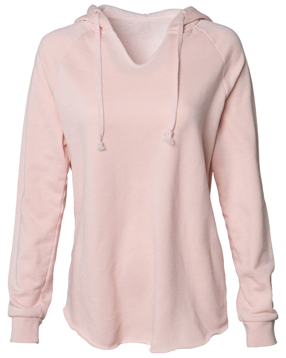 Front of a long sleeve blush pink pullover hoodie.