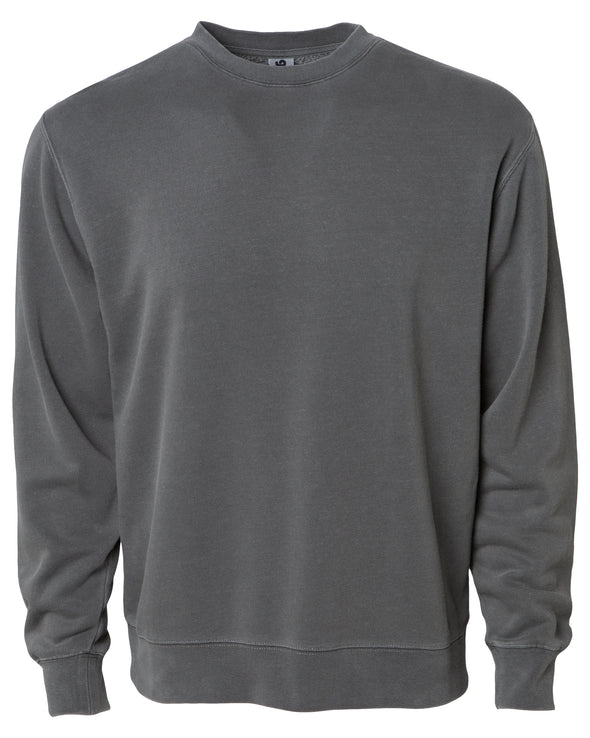 Front of a gray crew neck sweatshirt.