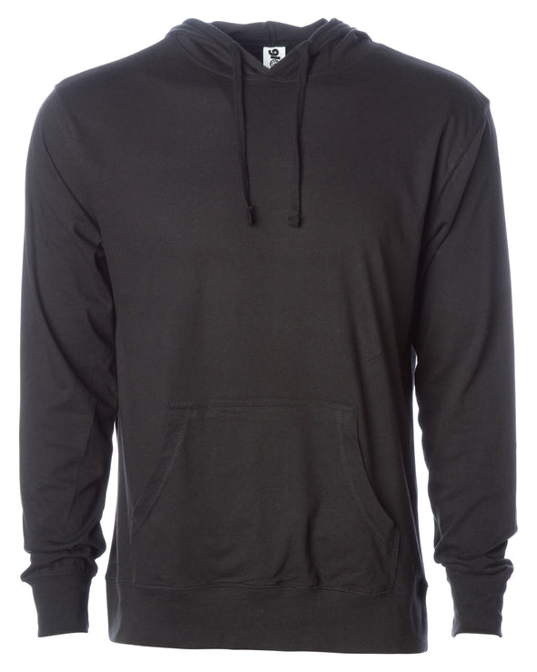 Front of a black long sleeve t-shirt jersey hoodie with a matching drawstring and kangaroo pocket.