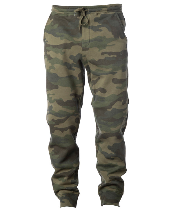 Front of green camouflage sweatpants with black drawstring waistband and cuffed ankles.