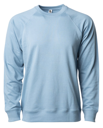Front of a light blue french terry long sleeve crew neck sweater.