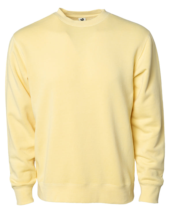 Front of a pastel yellow crew neck sweatshirt.