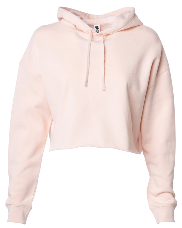 Front of a pink long sleeve crop top hoodie.