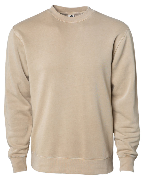 Front of a tan crew neck sweatshirt.