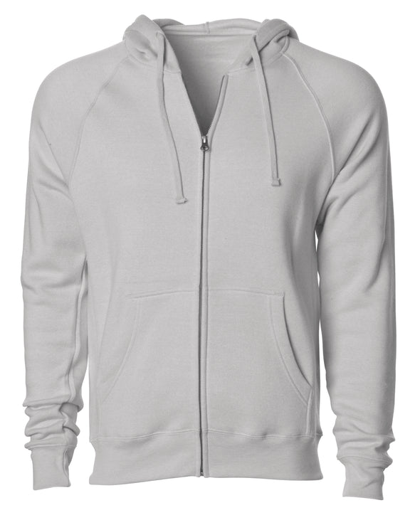 Front of a stone gray fleece zip-up hoodie with front pockets and a drawstring.