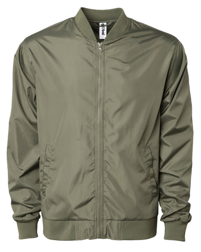 Front of a army green zip-up bomber jacket with front pockets and elastic cuffs.