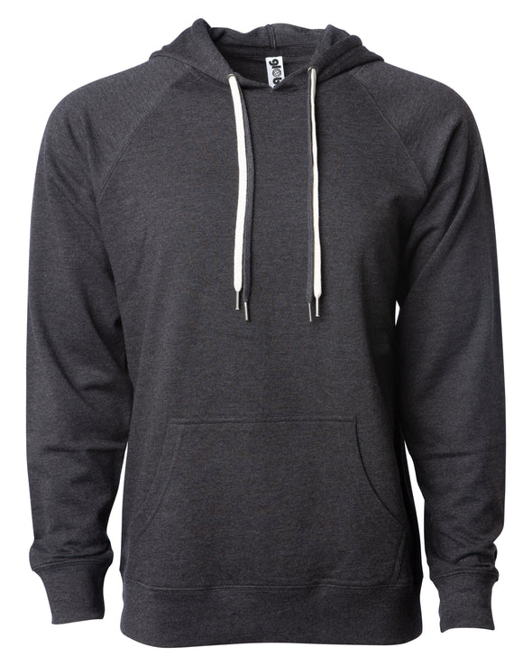 Front of a charcoal gray french terry pullover hoodie with a kangaroo pocket and two drawstrings.