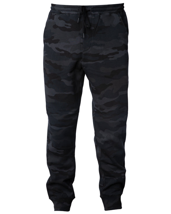 Front of black camouflage sweatpants with black drawstring waistband and cuffed ankles.